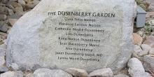 garden donor is remembered in the form of a huge engraved boulder that is nestled among the plant life.